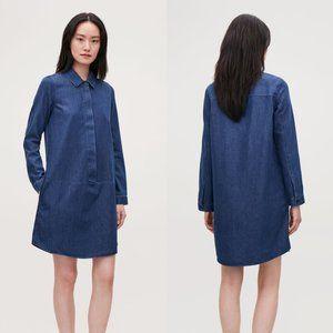 COS blue denim a-line button front shirt dress